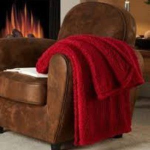 Red Fireside Sherpa Throw NWT